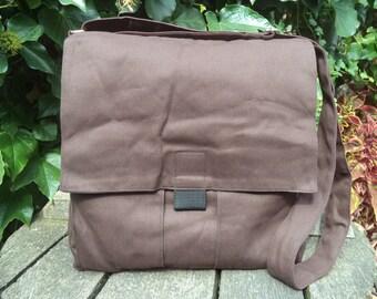 Brown canvas messenger bag,bike bag