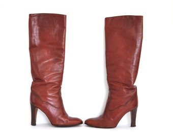 Vintage Susan Bennis Warren Edwards Couture Collection Leather Knee High Boots