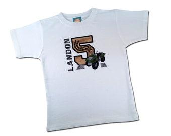 Boy's Birthday Shirt with ATV Three Wheeler and Embroidered Name