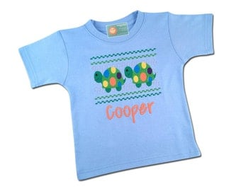 Boy's Turtle Shirt Faux Smocked with Embroidered Name