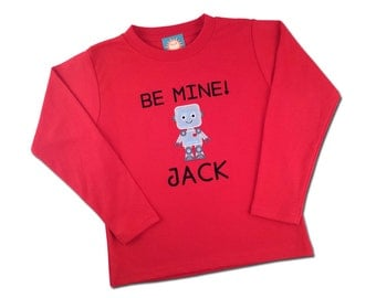 Boy's Valentine Shirt with 'Be Mine' Valentine Robot and Embroidered Name