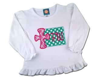 Girl's Easter Religious Cross Shirt with Monogram