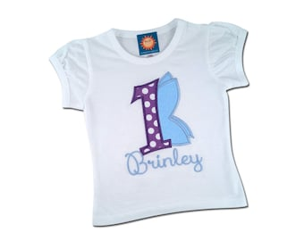 Girl's Butterfly Birthday Shirt with Number and Name