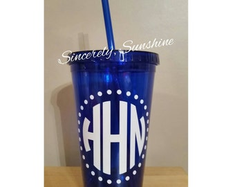 Monogram Circle Tumbler [blue] - 16 oz.