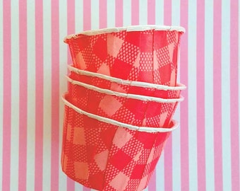 20 Red Gingham Candy Cups, Red & Pink Nut Cups, Valentine Party Supplies, Plaid Bake Cups