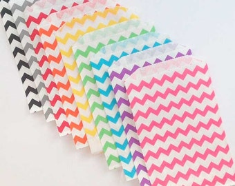 20 Paper Favor Bags, Treat Bags, Medium Chevron Gift Bags Select-A-Color Paper Bag Chevron, Wedding Shower Birthday 5 X 7-1/2 inch
