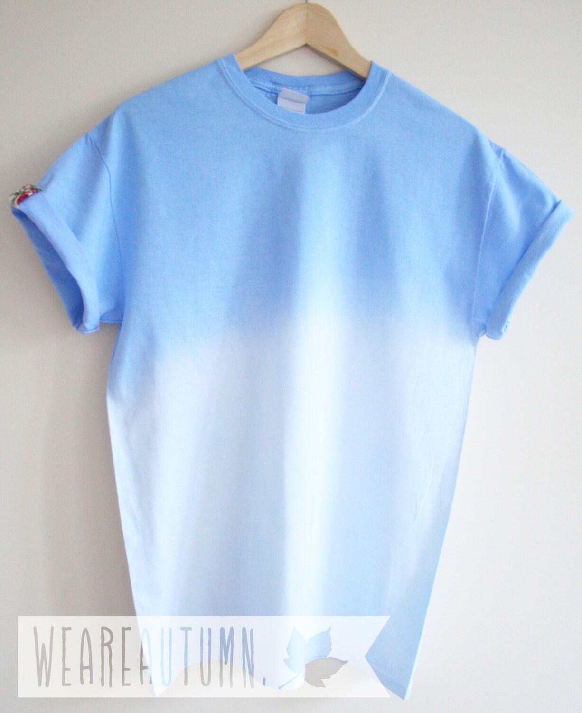sky blue dip dye t shirt unisex ombre dye handmade t shirt