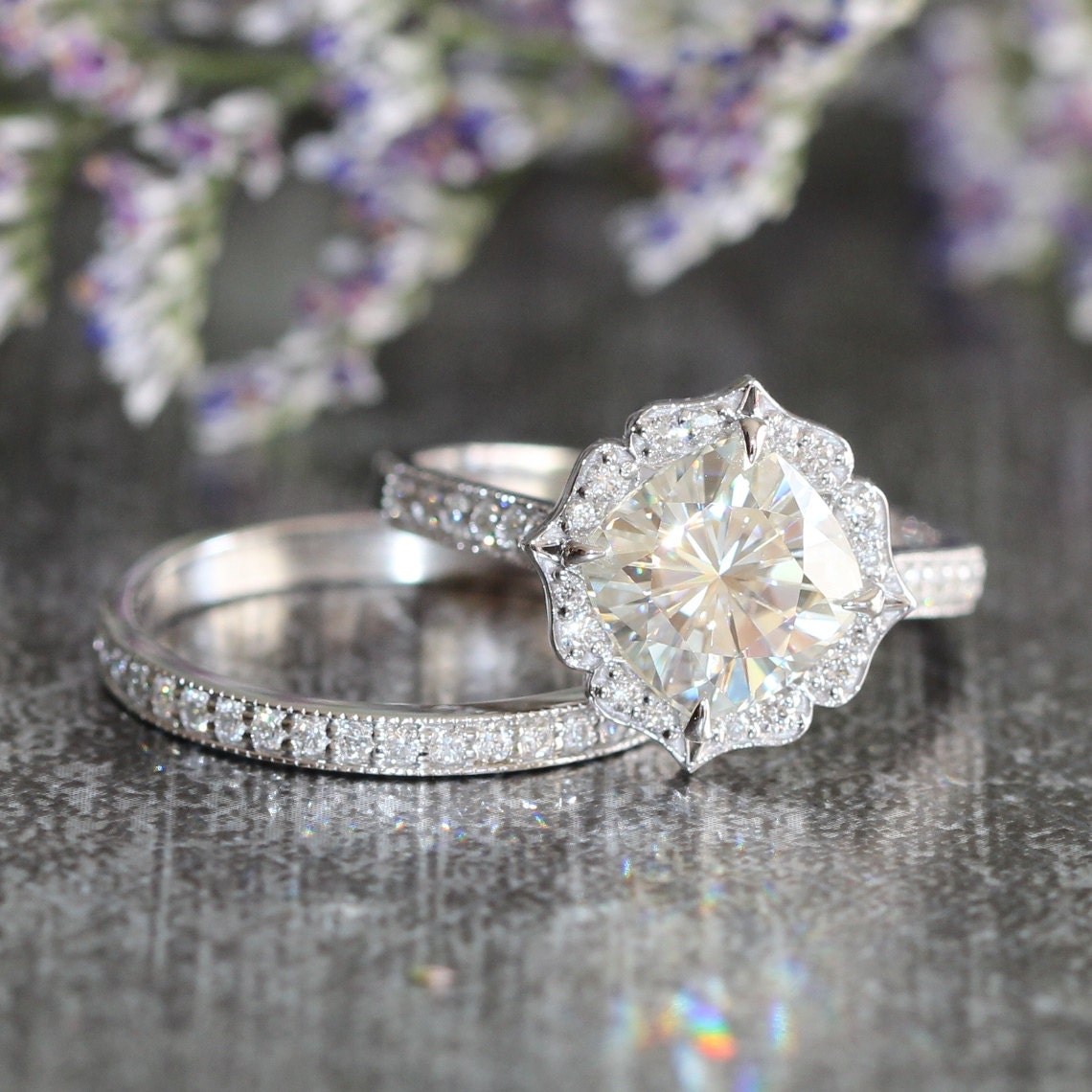 bridal set moissanite floral engagement ring and by With floral wedding ring set