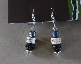 Wood beaded earrings