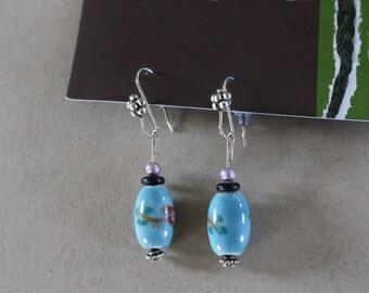 Blue floral beaded earrings
