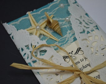 Beach Wedding Invitation Wedding Invitation Lace Invitation
