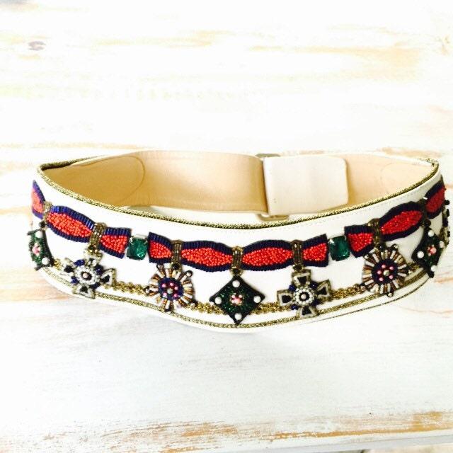 beaded leather festival belt