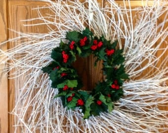 "28"" white twig wreath with holly"
