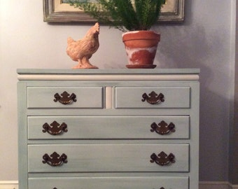 Vintage Ethan Allen Chest of Drawers in Watery Blue