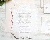 The Vanessa Suite | Floral Lace Letterpress Wedding Invitation SAMPLE