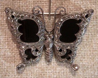 Beautiful Vintage Marcasite and Onyx Sterling Butterfly Brooch Large
