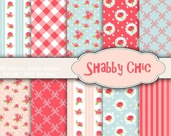 Shabby Chic Digital Paper Digital Flower Scrapbooking Paper Shabby Chic Flower Background Paper Red Flower Paper Blue Flower Paper 0173