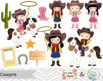 Instant Download Cowgirls Digital Clip Art, Wild West Cowboy Digital Clipart, Little Cowgirl Clipart, Wild West Clip Art, 00183