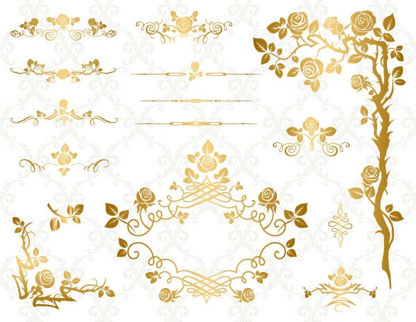 gold digital flower frame clipart flourish swirl frame border