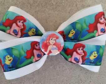 The Little Mermaid hair bow. Ariel hair clip.