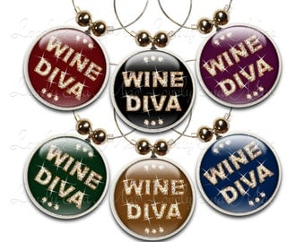 Wine Diva Wine Glass Charms, Wine Charm, Wine Gifts, Colorful, Diva Gifts, Wine Charms, Wine Accessory, Wine Jewelry, Diva Charms, Set of 6