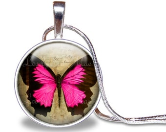 Butterfly Necklace, Butterfly Pendant, Pink and Beige, Glass Tile Necklace, Butterfly Jewelry, Butterfly Gift, Pink Butterfly, Butterflies