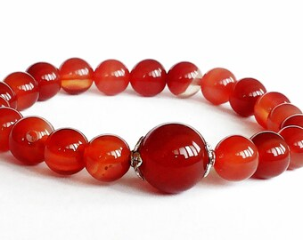 Creativity Carnelian Bracelet, 8mm Red Bead Bracelet, Carnelian Bracelet Womens, Stretch Beaded Bracelet Carnelian, Red Carnelian Jewelry