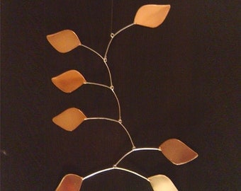 Copper Leaves Hanging Mobile Art