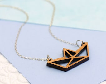 Origami Paper Boat Necklace, Laser Cut Jewelry, Wooden Necklace, Geometric Necklace, Origami Jewellery, Minimalist Jewellery