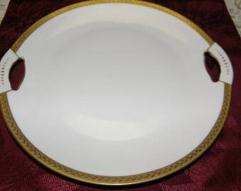 Royal Bayreuth Gold Encrusted Laurel Leaf Handled Cake Plate