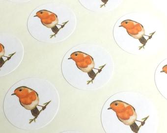 "1"" Round - 12 White Envelope Seals/Stickers - Red Robin for Wedding Envelope Invitations Decoration, or Wedding Favor, Planner or Scrapbook"