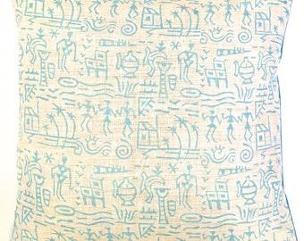 Warli Pastel Cushion Cover (Turquoise)