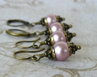 Powder Rose Pearl Earrings, Vintage Style Dusty Pink Dangles, Swarovski Elements Crystal Pearl, Pink Bridesmaid Earrings, Wedding Jewelry