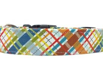 Preppy Multicolored Bias Plaid Dog Collar
