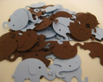 Elephant Confetti, Baby Shower Confetti, Blue and Brown Party Confetti