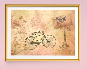 Paris Print, Bicycles, Paris Decor, Paris Art, Eiffel Tower Decor, Spring Decor, Bicycle Art, Bike Art, Cherry Blossoms, Vintage Prints