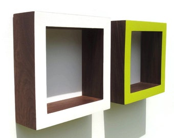 Shadow Box Frame - Oak or Walnut - White ,Lime Pop                                   .