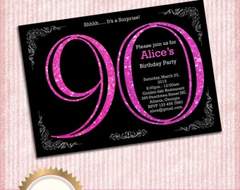 90th Birthday Invitation. Adult Pink Glitter Birthday Invitation. Women Birthday Party. Adult Surprise Birthday.Elegant. - Printable DIY