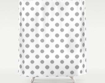 Polka Dot Shower Curtain, Gray Shower Curtain, Ikat Shower Curtain, Fabric Shower Curtain, Girls Shower Curtain, Girls Bathroom Decor, Grey