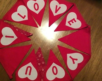 """Red reversible """"I Love You"""" Valentine's day fabric triangle banner with hearts"""