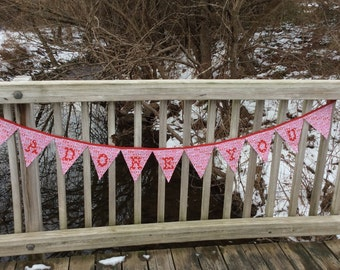 "Valentine's day ""Adore You"" reversible fabric triangle banner, XOXO, pink, white, red"