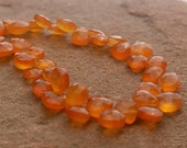 "Carnelian Beads Genuine Carnelian Agate Faceted Briolette Heart Drop Beads Faceted Full 7"" Strand Free Ship CN5V6F0002"