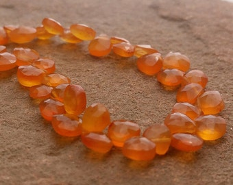 """Carnelian Beads Genuine Carnelian Agate Faceted Briolette Heart Drop Beads Faceted Full 7"""" Strand Free Ship CN5V6F0002"""