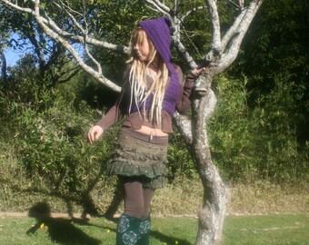 Purple Mandala Pixie vest  with hood