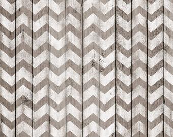 Photography Backdrop - Wood Boards White Chevron - 5ft x 5ft White chevron rustic wood boards printed background - Wood photo backdrop