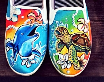 Underwater Theme Dolphin and Sea Turtle Hand Painted Shoes