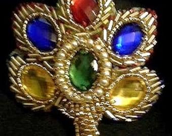 Sequins & Beaded 6 Jeweled Flower (Medium) Applique