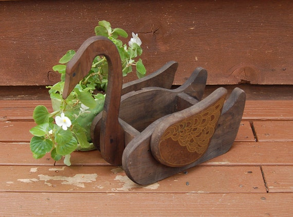 Swan Planter Vintage Flower Box Wooden By Pinespringscottage