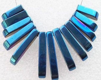 Metallic Blue Coated Hematite Pendant Set