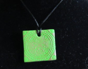 Green Flower Stamped Polymer Clay Pendant Necklace